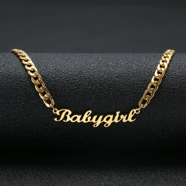 "Gold Color ""Babygirl"" Name Necklace Stainless Steel-Women - Jewelry - Necklaces-Gold-45cm-One-Keyomi-Sook"
