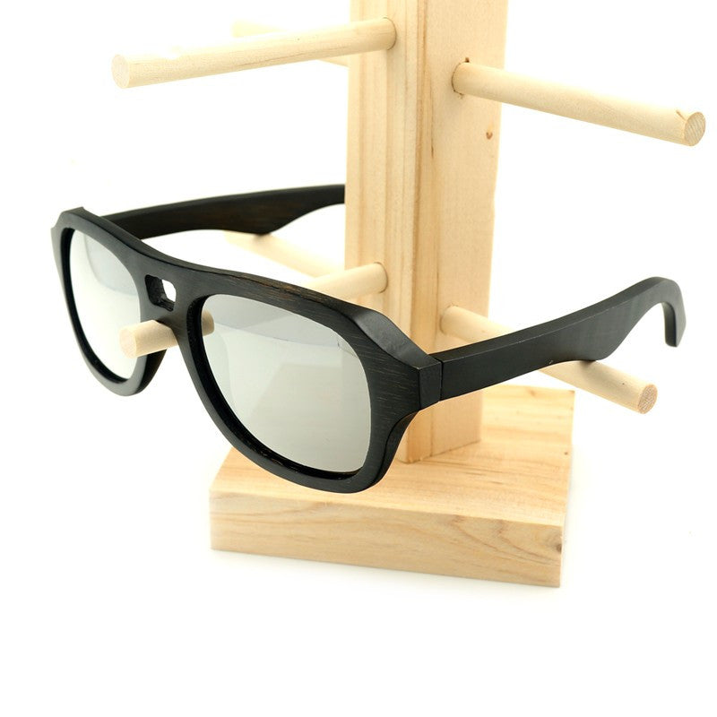 100% Natural Mens Bamboo Vintage Wooden Pilot Sunglasses-Wooden Sunglasses-Green Lens-Keyomi-Sook