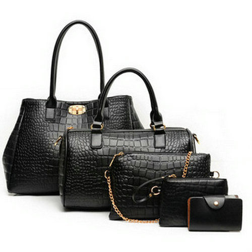5 Pieces Women'S Alligator Print Handbags-Women's Hand Bags-Black Handbag-37cm-Keyomi-Sook