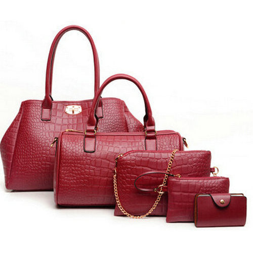 5 Pieces Women'S Alligator Print Handbags-Women's Hand Bags-Wine Red Shouler-37cm-Keyomi-Sook