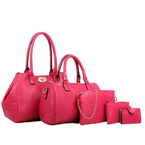 5 Pieces Women'S Alligator Print Handbags-Women's Hand Bags-Rose Handbag-37cm-Keyomi-Sook