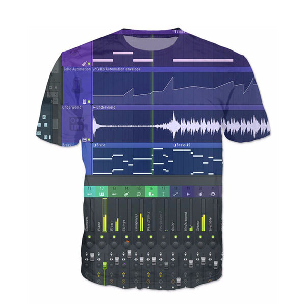 Men'S 3D Graphic Equalizer Synthesizer T-Shirts-Multi Color 2-(L) 37, 15, 26 IN-Keyomi-Sook
