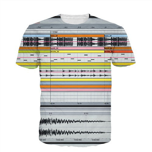 Men'S 3D Graphic Equalizer Synthesizer T-Shirts-Multi Color 1-(L) 37, 15, 26 IN-Keyomi-Sook