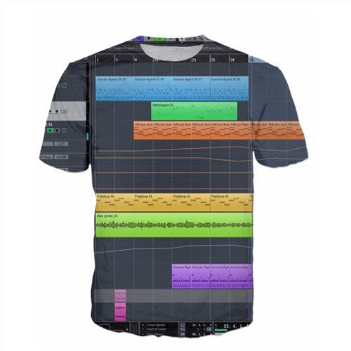 Men'S 3D Graphic Equalizer Synthesizer T-Shirts-Multi Color 3-(L) 37, 15, 26 IN-Keyomi-Sook