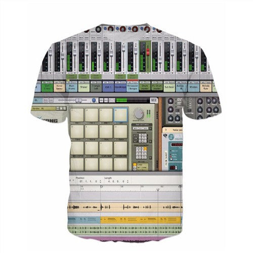 Men'S 3D Graphic Equalizer Synthesizer T-Shirts-Multi Color 4-(L) 37, 15, 26 IN-Keyomi-Sook