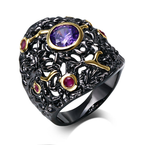 Huge Black Gold Plated Wizard Ring Red And Purple Stones