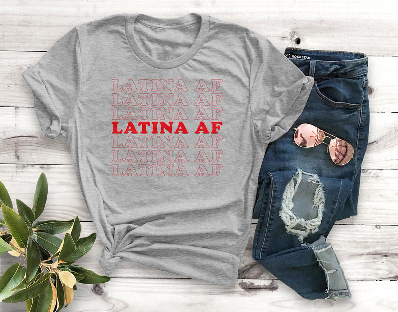 Multi-Colors Latina Af T-Shirt Funny Quote Fashion Street Style S-Xxxl-Grey-red txt-S-Keyomi-Sook