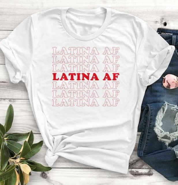 Multi-Colors Latina Af T-Shirt Funny Quote Fashion Street Style S-Xxxl-White-red txt-S-Keyomi-Sook