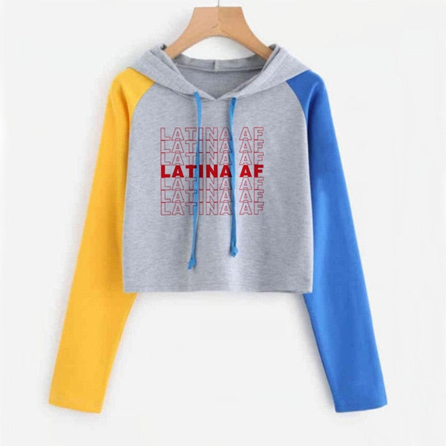 Latina Af Have A Nice Day Crop Top Hoodie Letter Printed Long Sleeve S-Xxl-Gray-S-Keyomi-Sook