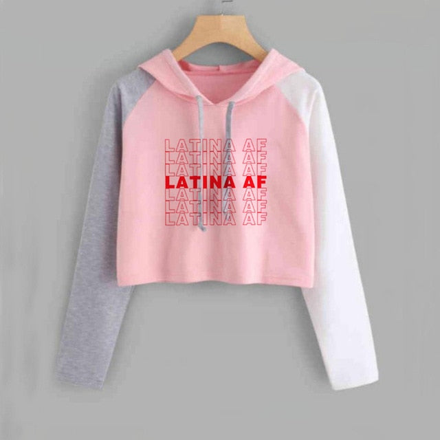 Latina Af Have A Nice Day Crop Top Hoodie Letter Printed Long Sleeve S-Xxl-Pink-S-Keyomi-Sook