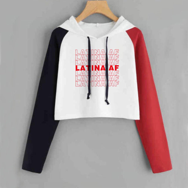 Latina Af Have A Nice Day Crop Top Hoodie Letter Printed Long Sleeve S-Xxl-Red-S-Keyomi-Sook