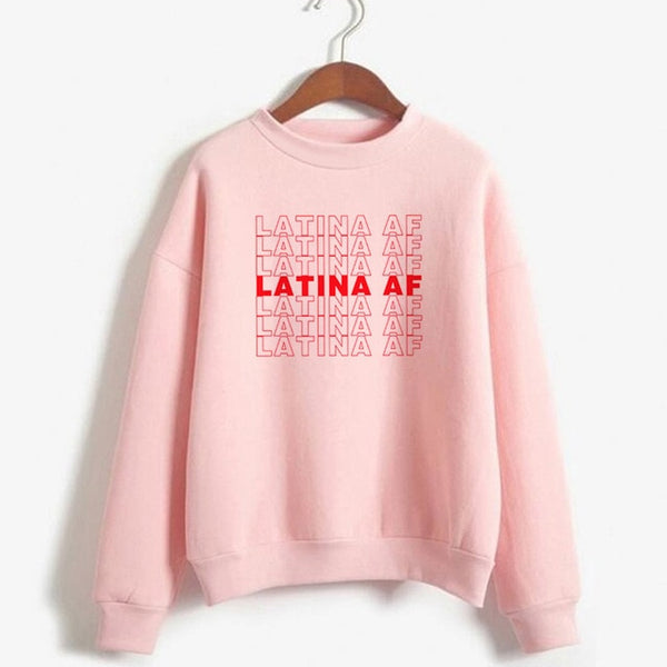 Latina Af Pullover Long Sleeve Sweatshirt M-Xxl-pink-M-Product Details Gender: WomenItem Type: SweatshirtsMaterial: COTTON, PolyesterStyle: CasualFabric Type: BroadclothSleeve Length(cm): FullClothing Length: REGULARPattern Type: LetterType: PulloversSleeve Style: REGULARCollar: O-NeckHooded: YesModel Number: Warm sweatshirtsCollar: Women's Sweatshirt pullover-Keyomi-Sook