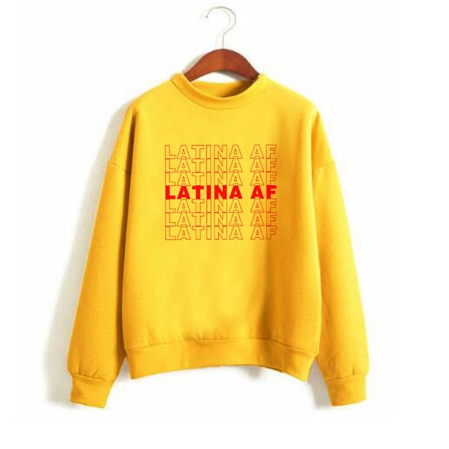 Latina Af Pullover Long Sleeve Sweatshirt M-Xxl-yellow-M-Keyomi-Sook