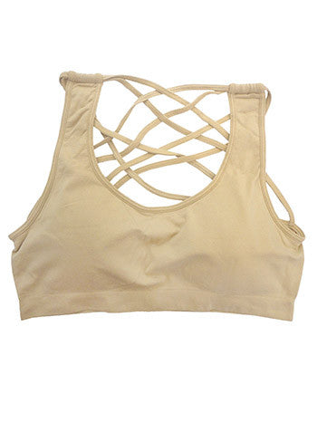 Criss Cross Bralette Nude  - Bella Vita Chic Boutique
