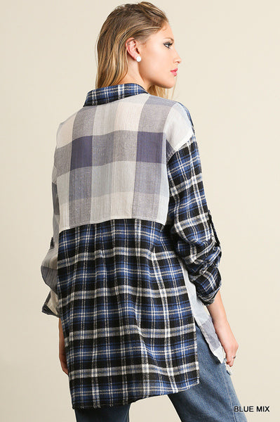 Longsleeve high low plaid button up  - Bella Vita Chic Boutique