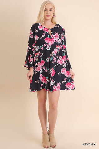 Bell sleeve floral print dress with keyhole detail