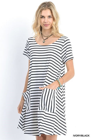 Striped shirt dress with short sleeves and pockets  - Bella Vita Chic Boutique