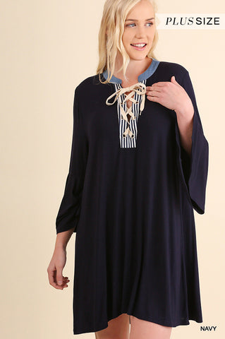 Angel sleeve tee dress with drawstring neckline