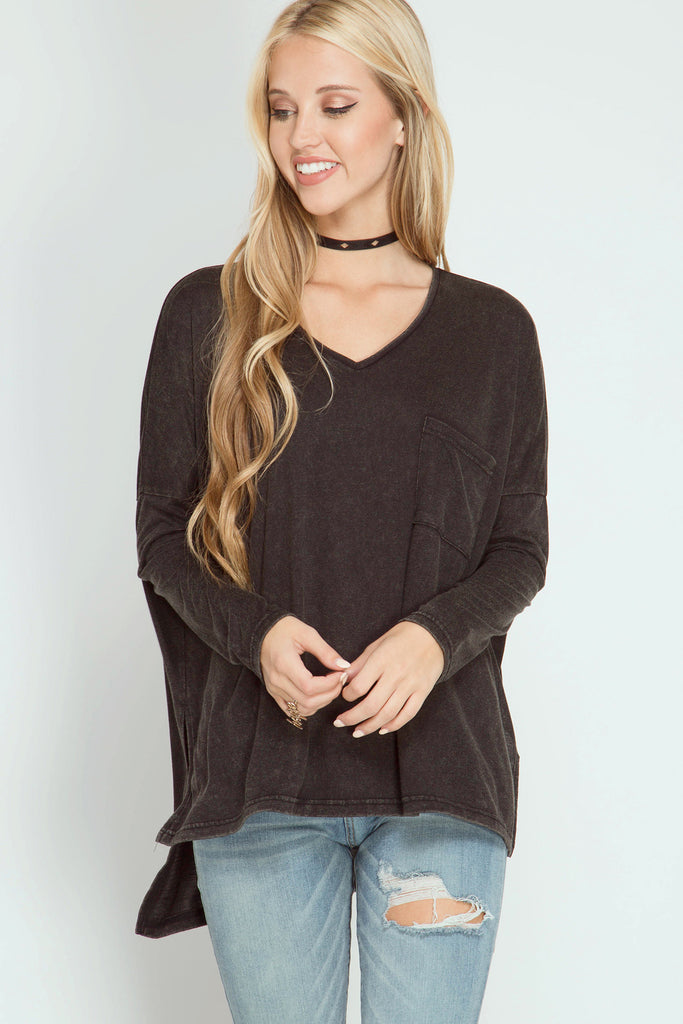 Stone washed long sleeve v neck knit top with front pocket  - Bella Vita Chic Boutique