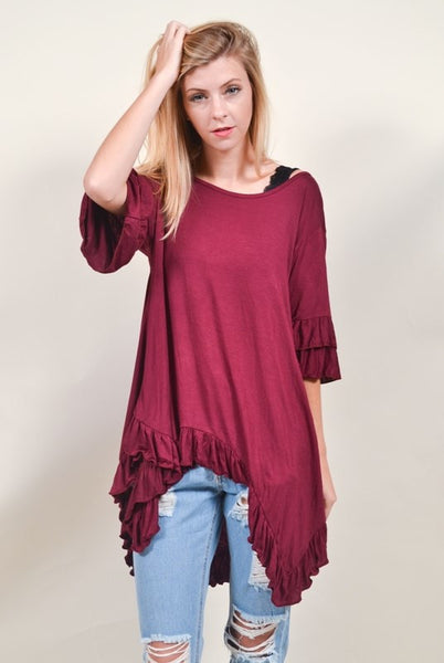 Ruffle Bottom Tunic  - Bella Vita Chic Boutique
