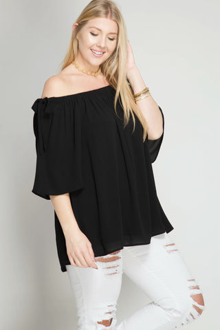3/4 Sleeves off shoulder top with ties  - Bella Vita Chic Boutique