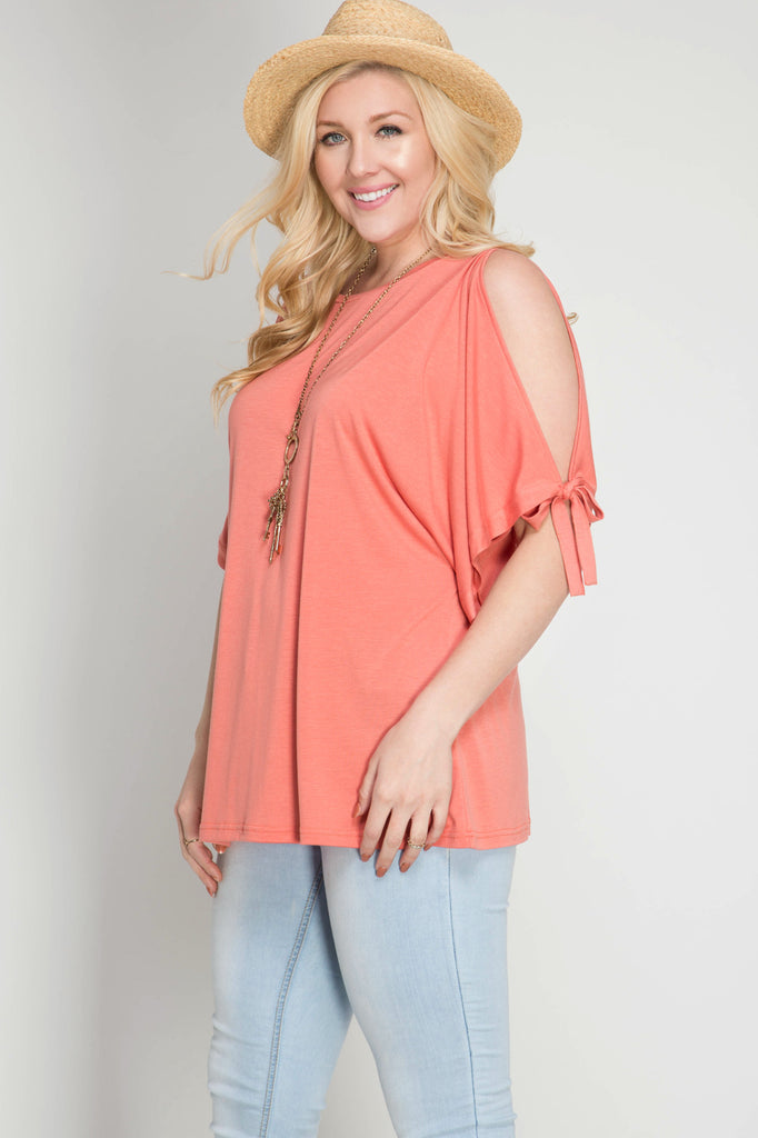 Half sleeve top with open shoulder