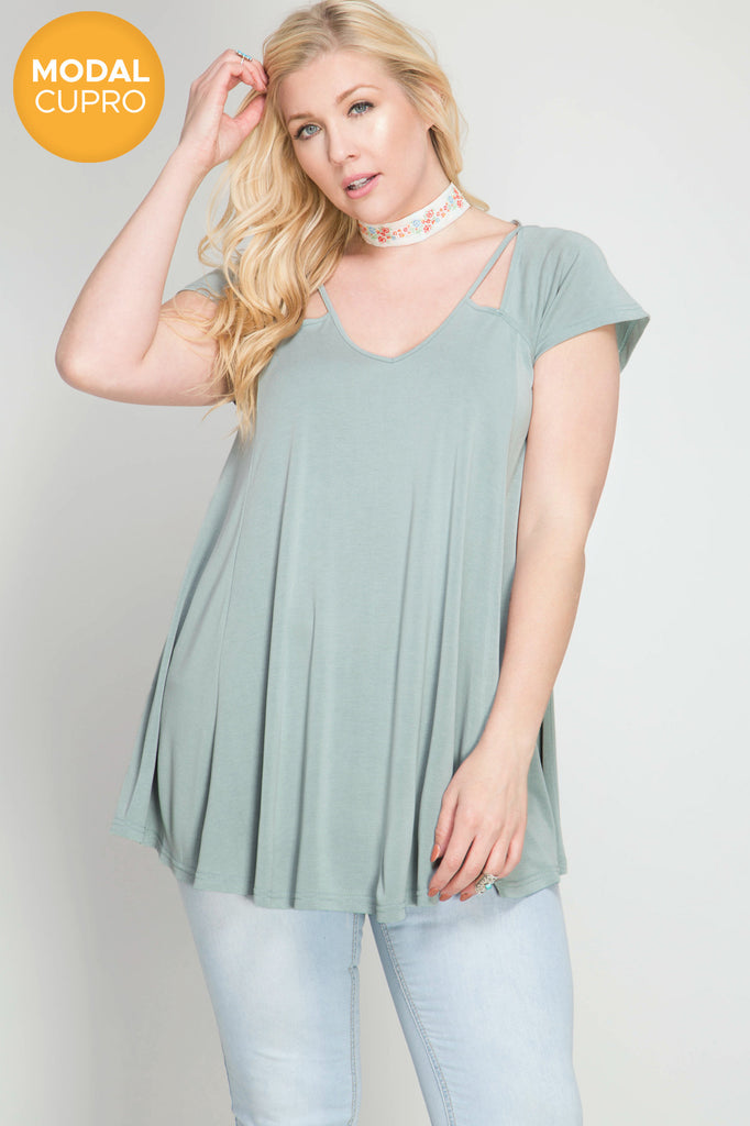 Short sleeve modal cupro top  - Bella Vita Chic Boutique