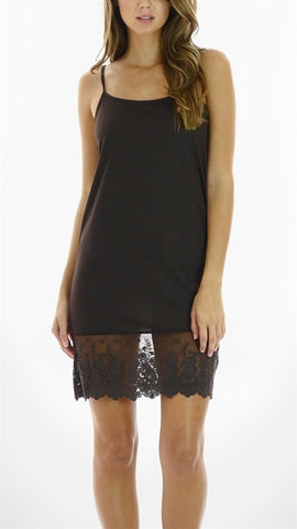 Black lace jersey full slip