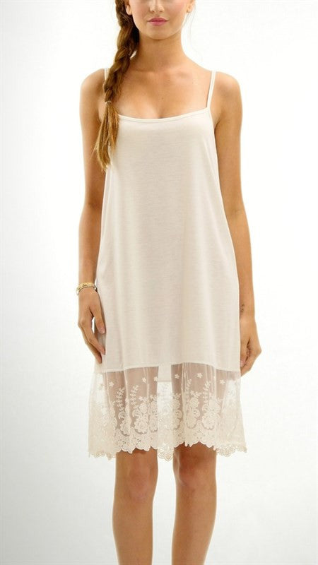 Wide lace jersey full dress extender off white  - Bella Vita Chic Boutique