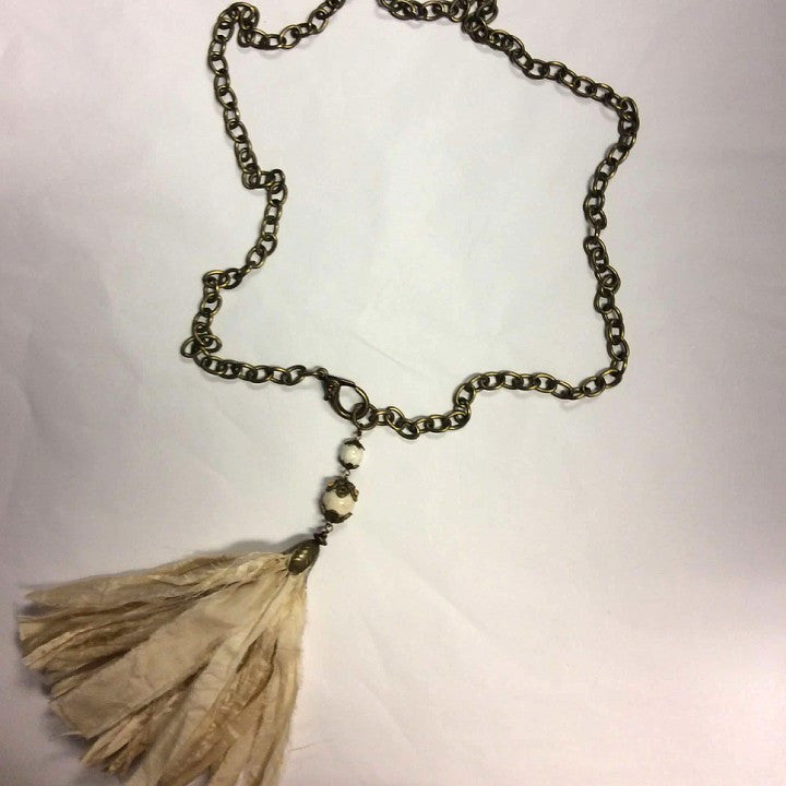 Antiqued brass chain with silk fabric tassel  - Bella Vita Chic Boutique