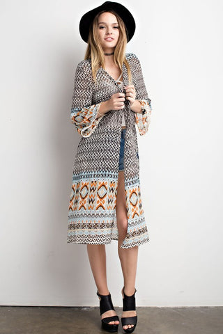 Aztec print kimono with open front  - Bella Vita Chic Boutique