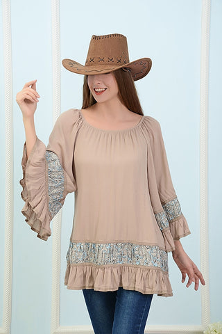Bell sleeve tunic with paisley print trim  - Bella Vita Chic Boutique