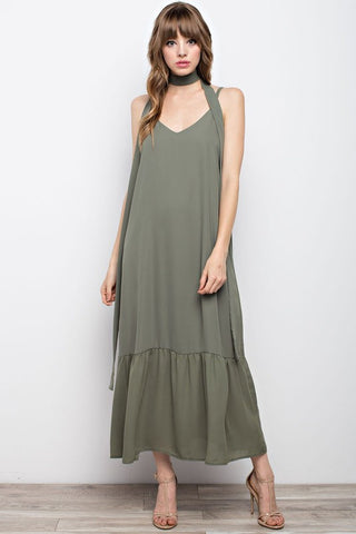 Tie bow maxi in Olive  - Bella Vita Chic Boutique
