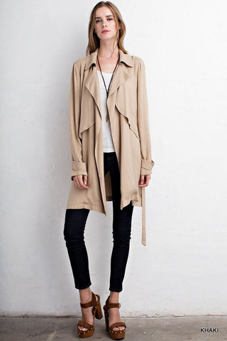 Solid slouchy trench jacket  - Bella Vita Chic Boutique