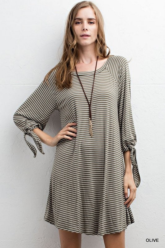 striped quarter sleeve dress  - Bella Vita Chic Boutique