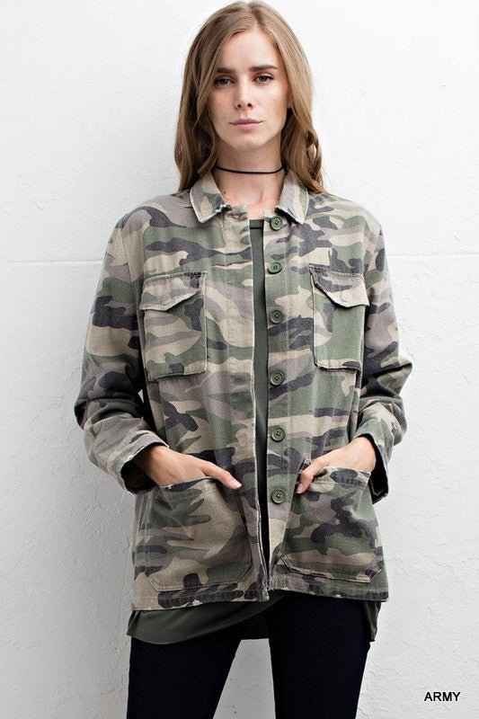 Camo print army jacket with pockets  - Bella Vita Chic Boutique
