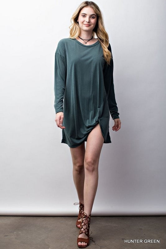 Solid modal top with knotted bottom  - Bella Vita Chic Boutique