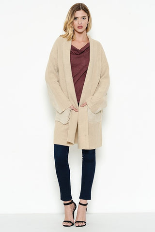 Long cardigan featuring two toned colors  - Bella Vita Chic Boutique