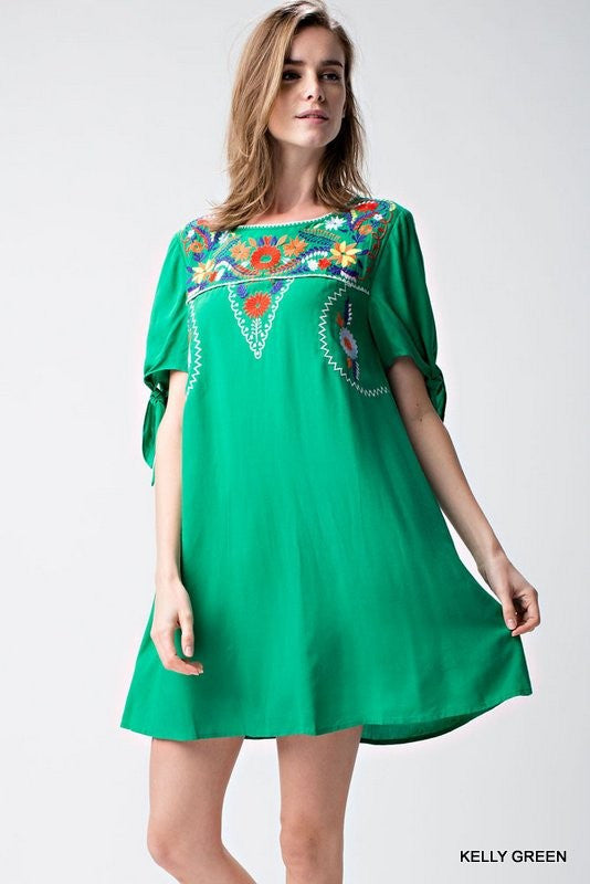 Solid short sleeve dress with embroidered yoke  - Bella Vita Chic Boutique