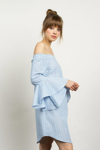 Blue chambray stripe off-shoulder dress