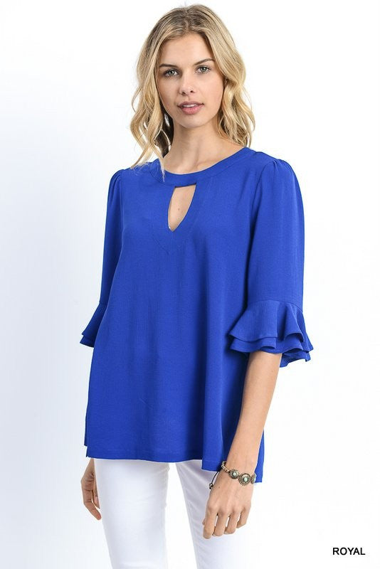 Half sleeve top with ruffle bell sleeves  - Bella Vita Chic Boutique