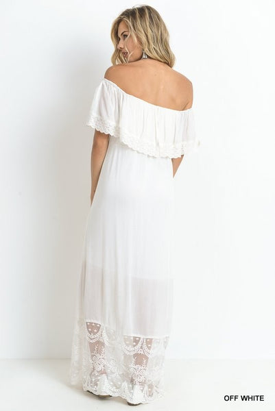 Off or on the shoulder maxi dress with lace detail  - Bella Vita Chic Boutique