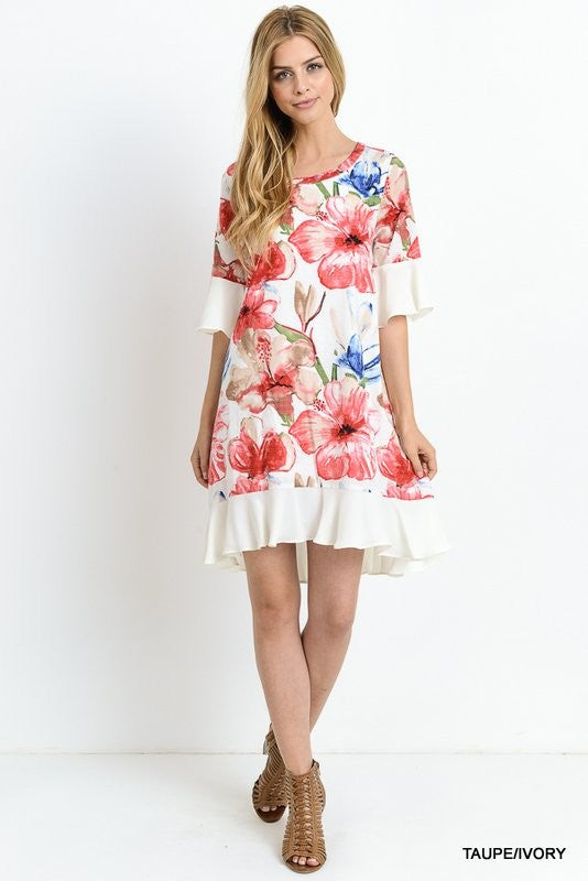 Print tunic dress with ruffled sleeves and hem  - Bella Vita Chic Boutique