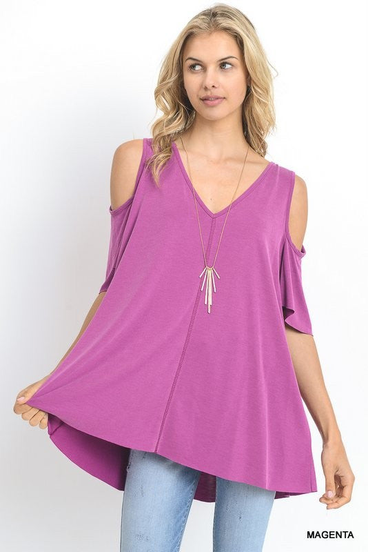 V-neck top with cold shoulders and stitching detail  - Bella Vita Chic Boutique