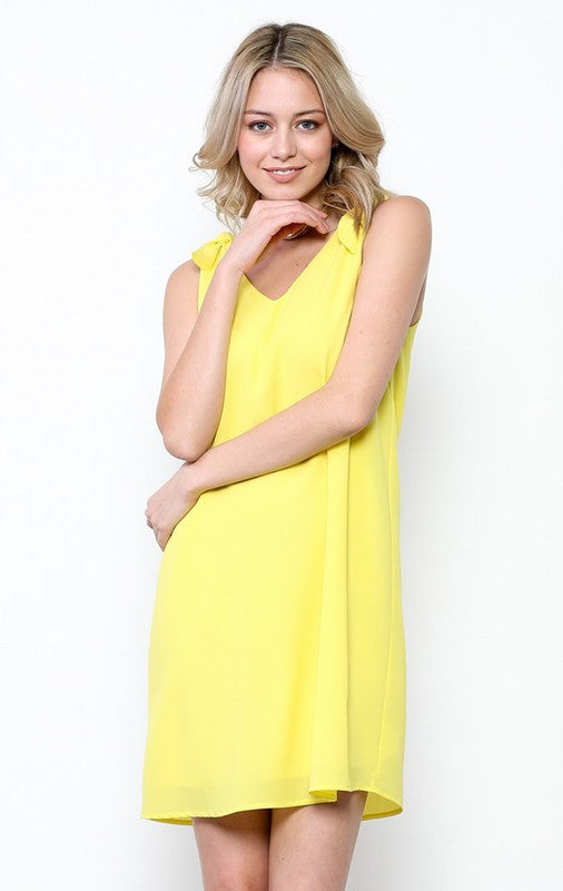 Solid chiffon V back dress  - Bella Vita Chic Boutique