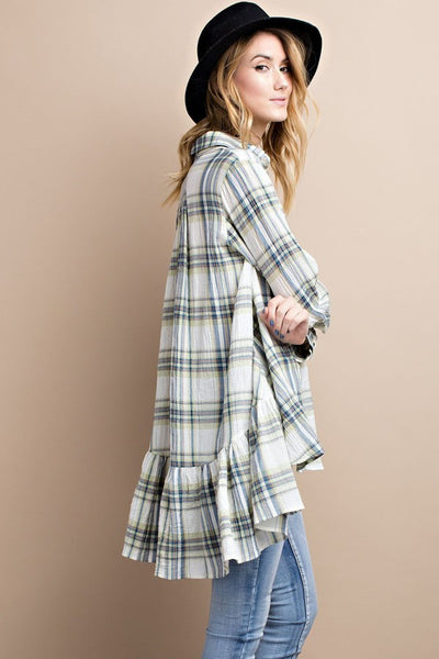 Plaid flyaway tunic  - Bella Vita Chic Boutique