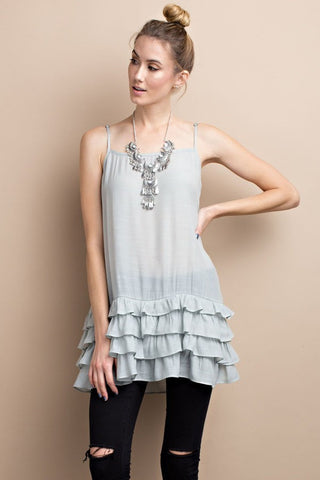 Adjustable ruffled tunic