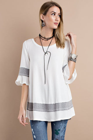 1/2 Bell sleeve babydoll loose fit tunic  - Bella Vita Chic Boutique