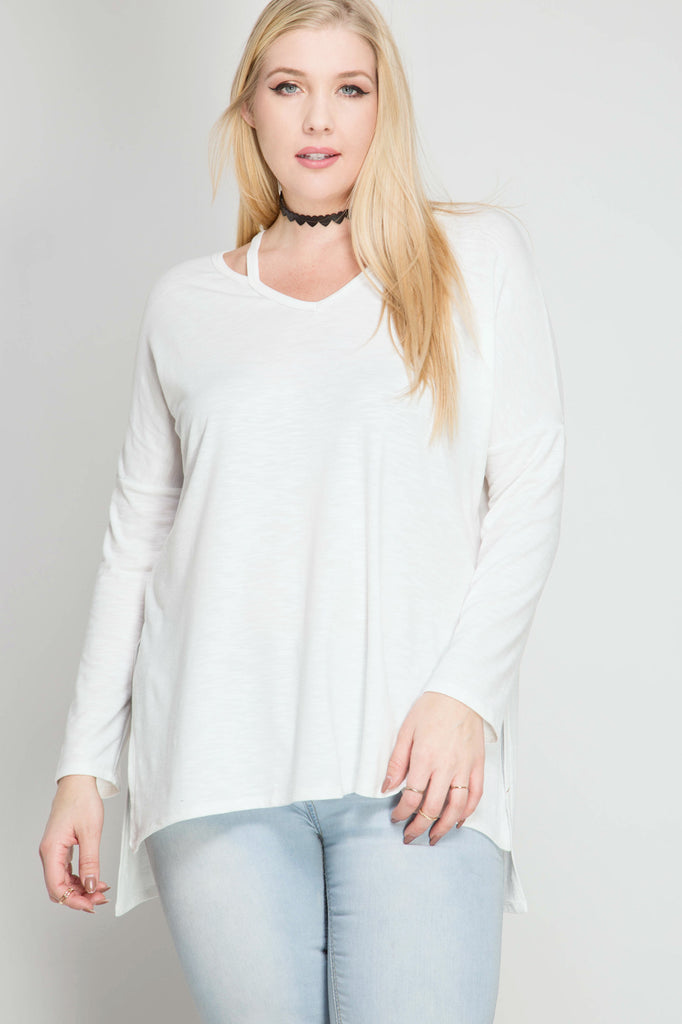 Long sleeve top with cutout neck straps  - Bella Vita Chic Boutique