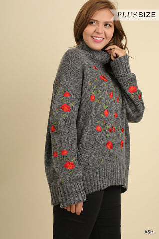 Long sleeve turtle neck sweater with embroidery  - Bella Vita Chic Boutique